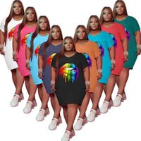 L-5XL Rianbook Губы Узор женские Летние платья Домашняя одежда Сплошные цвета Круглые Шутки Шорты Рукав Футболка Платье G47VPAE