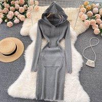 Novo design outono mulheres casual manga longa com capuz malha bodycon túnica comprimento do joelho vestido de camisola cor sólida