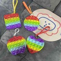 Rainbow Pioneer Fidget Toys Push Pop Bubble Popper Cadena Llavero Apple Car Silicone Kids Patchwork Discompresión Educativa Simple Dpleo Poo-su juguete Pandent G4WRNGC
