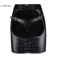Kimring Gotik Deri Etek Büyük Göt Açık Butt Clubwear Mini Etek Seksi Sıkı Kalça Etek 210412
