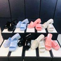 여성 패션 젤리 슬리퍼 슬라이드 샌들 6cm 플랫폼 슬리퍼 핑크 그린 캔디 색상 야외 해변 슬라이드 플립 플롭 박스