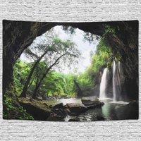 폭포 태피스트리 자연 풍경 홈 벽 매달려 배경 장식 침실 거실 녹색 정글 숲 나무 호수 태피스트리