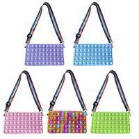 Fidget Toys Solid Color Push Bubble bags Shoulder Crossbody Messenger Bag Silicone Small Purse Handbags Sensory Antistress