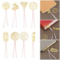 Bookmark 8PCS Cute Apricot Book Holder Rose Gold Leaf Metal Chinese Style Tassel