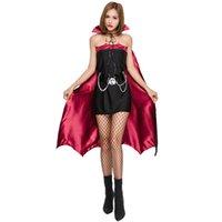 Mode-Dames Gothic Heks Vampire Kostuum Rollen Spelen Cosplay Jurk + Cap Cloak Masquerade Halloween Batwoman Cosplays