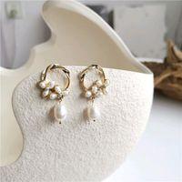 Stud Natural Freshwater Pearl Circle Ear Studs Accessories Gold Metal Elegant Earrings For Women Girl Jewelry