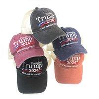 Америка первая шапка открытый спортивный вышитый вышитый козырь сетки шляпы 30 шт. Дональд Трамп 2024 бейсбольная шапка лоскутное мытье на открытом воздухе