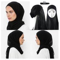 Ethnic Clothing 50pcs Muslim Women Bonnet + Chiffon Shawl Head Scarf Underscarf Cap Islam Inner Headband
