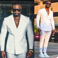 White Double Breasted Celebrity Mens Customized Wedding Tuxedos Red Carpet Men Wear Dinner Prom Party Blazer (Jacket+Pants)