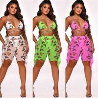 Summer Mujeres Chicas Traje de baño Sexy Tops Cross Vendaje Sujetador + Pantalones cortos Malla de malla Playa Mariposa Mariposa Dos piezas Set G42z4wu