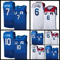 Casca de baloncesto Equipo de Jersey América 2021 EE.UU. Tokio Juegos Olímpicos de verano azul oscuro Damian 6 Lillard Kevin 7 Durant Jayson 10 Tatum Devin 15 Booker degradado
