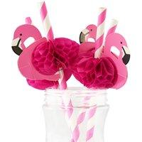 50 teile / satz Flamingo Papier Strohhalme Tragbare Einweg Strohpipette Rosa Strohbügel Trinkwerkzeuge Hochzeit Geburtstag Party Dekoration BH2114 CY