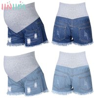 Maternity Bottoms Iiniim Pregnant Women Summer Short Pants Made Of Soft Fabric Patchwork Style Support Belly Elastic Band Ripped Denim Jeans