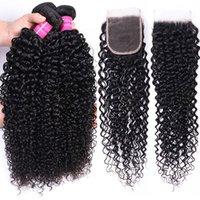 Brazilian Human Hair Bundles 100% Unprocessed Brazilian Curly Deep Wave Human Hair Extensions 3 Bundles with Closure 4x4 Natural 1B