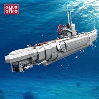 Gulo Gulo 1035pcs Военная подводная лодка U-48 строительные блоки боевой корабль кирпичи набор лодка модель детей DIY игрушки дети подарки H0917
