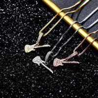 925 Sterling Silver Halsband Lyx Fashion Bling Cubic Zirconia Gitar Shape Pendant Smycken Gift för Kvinnor Hip Hop 18K Guldplätering