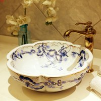Europa Vintage Style Ceramica Art Bacino Lavello Lavello da banco Top Wash Bagno Vaso Vanities Bagno Lavello in ceramica Dinksgood Qty