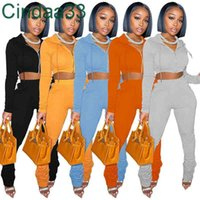 Women Tracksuits Two Piece Set Designer Push Sweatsuits Outfits Hoddies Sweater Zipper Jacket Stacked Sleeve Pants Exposed Navel Sportwear