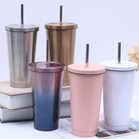 Mugs 500ML Stainless Steel Insulated Mug With Lid And Straw Coffee Drink Travel Cup Vacuum Flask Metal Tumbler Beer Tea Cups