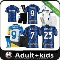 Erwachsene Kinder Kit 2021 Inter Barella Soccer Jerseys 21 22 Lukaku Milan Vidal Lautaro Eriksen Alexis Hakimi de vrij Vierter Männer Fußballhemd