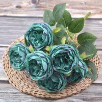 Yapay İpek Şakayık Çiçekler Buketleri 7 Kafaları Çekirdek Spun Peonys Düğün Ev Dekorasyon Beyaz Şampanya Mavi Pembe GGA4651