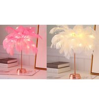 Table Lamps TOP Creative Feather Lamp Tree Night Lights LED For Home Bedside Girl Room Wedding Decoration