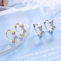 Hoop & Huggie Small Fresh 925 Silver Earrings Inlaid With Diamonds And Bow Sweet Design For Girls Birthday Gift C3