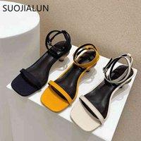 SUOJIALUN Brand New Square Toe Slingback Shoes Fashion Strange Style Heel Sandal Narrow Band Dress Sandals Ladies Elegant Pump C0330