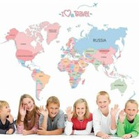 Colored Letters World Map DIY Vinyl Wall Sticker Kids Room Art Decals Home Decor Wallpaper