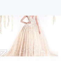 Designer Ziad Nakad V Neck Wedding Dresses 2016 Ball Gown Spring Lace Appliques Pearls Bridal Gowns Custom Made
