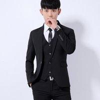 Korean business dress professional suit men's three piece suit slim casual best man bridegroom wedding ceremony