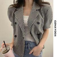 Women's Suits & Blazers Genayooa Summer Plaid Blazer Women 2021 Short Sleeve Office Ladies And Jackets Loose Elegant Feminino Chic