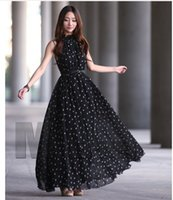 Casual Dresses Designer Chiffon New Round Dot Dress, Sleeveless Vest Wide Swing Skirt, Stand Collar (belt Free)