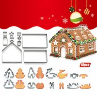 Baking Moulds Biscuit DIY Molds 18 Piece Set Christmas Stainless Steel 3D Three-Dimensional Cookie Gingerbread House Star Heart Plunger Stencils