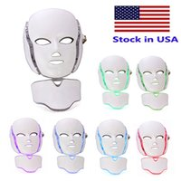 Lager USA High End 7 Color LED Light Therapy Face Beauty Machine Facial Neck Mask med mikrourent för hudblekningsanordning
