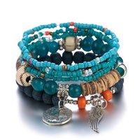 S2278 Bohemian Fashion Jewelry Strands Angel Wing Pendant Beaded Bracelet Multi Layer Colorful Beads Charms Bracelets