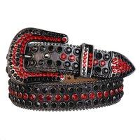 Western Cowboy Bling Black Light Siam Crystal Rhinestones Studded Shiny 3D Leather Belt Removable Buckle for Men