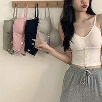 Women's Tanks & Camis Women Camisole Vest Fashion Wild Solid Color Sling Tank Top Summer Button V-neck Cotton With Removable Chest Pad
