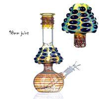 다채로운 버섯 중력 유리 봉 비커베이스 DAB 조작 물 담뱃대 두꺼운 유리 bubbler dowmstem perc waterpipe와 18mm 그릇 담배