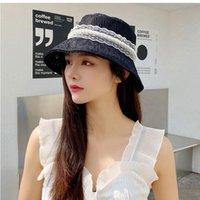 Wide Brim Hats Trendy Simple Lace Bucket Hat For Women Soft Flower Sun Floppy Summer Breathable Sweet Pearl Beach