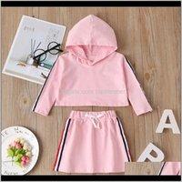 Sets ropa bebé, niños maternidad entrega entrega 2021 otoño niñas infantiles manga larga sudadera con capucha falda corta ropa rosa ropa traje de bebé