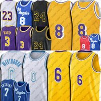 6 Lebron 23 James Russell 0 Westbrook Basketbol Jersey Carmelo 7 Anthony 3 Davis Siyah Mamba Formaları Los Angeleses Kral LBJ Retro Yeni Şehir Üniforma Vintage