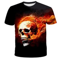 New summer men's and women's style printed 3D flame skull trend personalized T-shirt