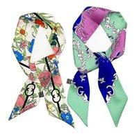 Sciarpa floreale Stampa Marca Fashion Ladies Mulberry Silk Hairband Handbag Satin Ribbon Lungo stretto colletto MR51 Sciarpe