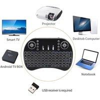 Teclados 3 colores retroiluminado i8 mini teclado inalámbrico 2.4GHz Mouse de aire inglés con touchpad para computadora portátil TV Caja de Android Use Batería