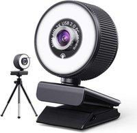 Mini USB Webcam 1080P Videokonferenzkamera Weitwinkel HD CAM Integrierte Mikrofonabdeckung und Ringlicht PC Computer 2K Kameras
