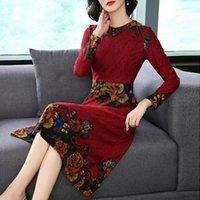 Casual Dresses KMETRAM Vintage Party Maxi Dress Women Clothes 2021 Autumn Print Elegant Ladies Plus Size Vestidos MY4304