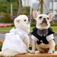 Lnlaid Diamond Pet Suspender Skirt Dog Apparel Doggy Clothe Princess Dresses Wedding Skirts Bow Evening Dress Dogs Clothes for Small Dogg Girl S White A18