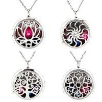 Pendentif Colliers 30mm Yinyang Lotus Flower Flower Collier Magnétique Essential Huile Diffuseur Perles Libre