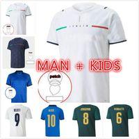 Man Kit Kits Kit 2021 Player Версия Италия Футбол Джерси Главная Барэлла Sensi insigne italia прочь белый третий Chiellini Belotti Maillot de ohot